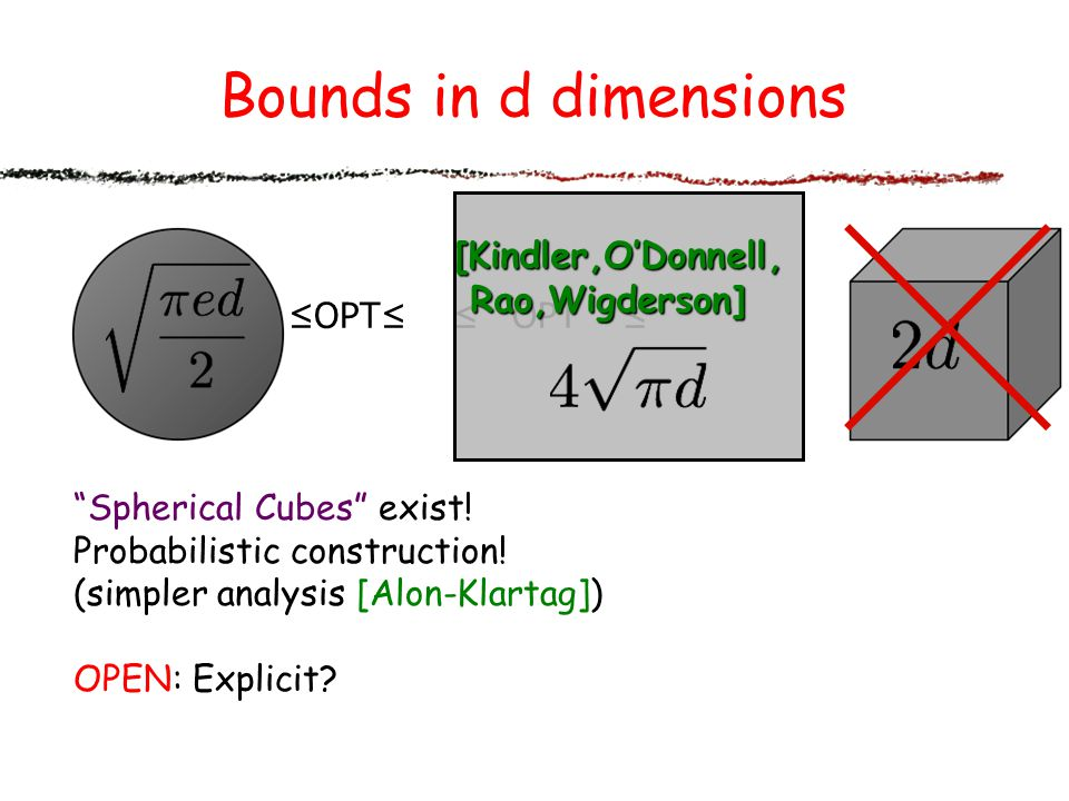 Bounds in d dimensions [Kindler,O'Donnell, Rao,Wigderson] ≤OPT≤